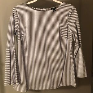 Striped Flare Sleeve Top w/ back peplum & buttons